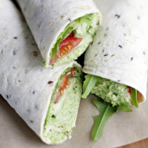 Green Pea Hummus Salad Wraps