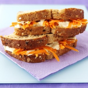 Hummus and Carrot Sandwiches