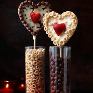 Valentine Chocolate and Cereal Heart Lollipops