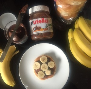 nutella and banana breakfast pancake