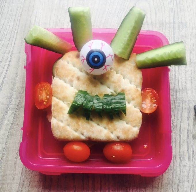 halloween lunchbox hack - scary monster sandwich
