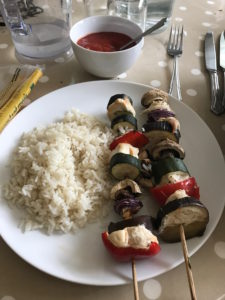mid-week meals with Dolmio grilled chicken kebab with Dolmio sauce on the side