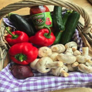 hamper of ingredients to create 3 mid week meals with dolmio Lunchbox World