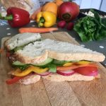 rainbow coloured sandwich using fruit and veg
