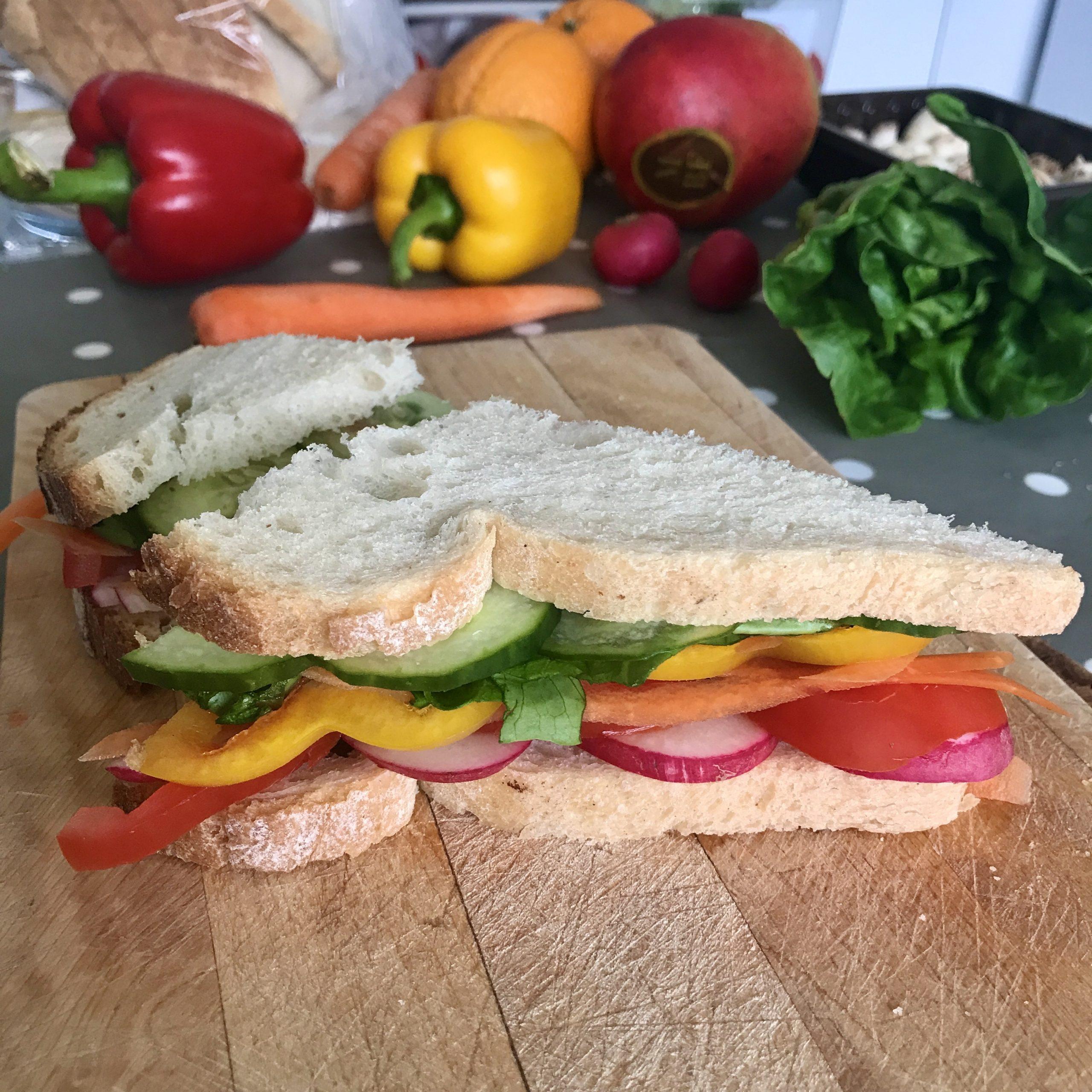 rainbow coloured sandwich using fruit and veg
